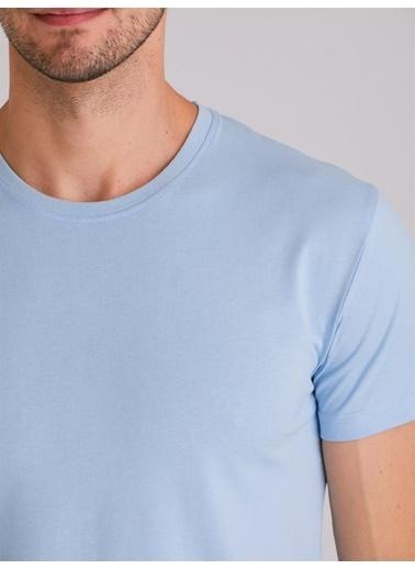 Dufy Camel Bısıklet Yaka Düz Erkek T-Shırt - Slım Fıt Mavi